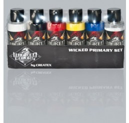 W101-00 Wicked Colors Airbrush Paint - Primary Set - 2oz