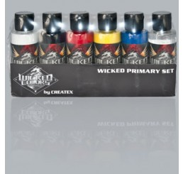 W110-00 Wicked Colors Airbrush Paint - Detail Primary Set - 2oz
